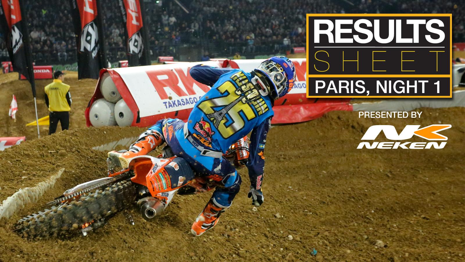 Results Sheet: Supercross de Paris, Night One