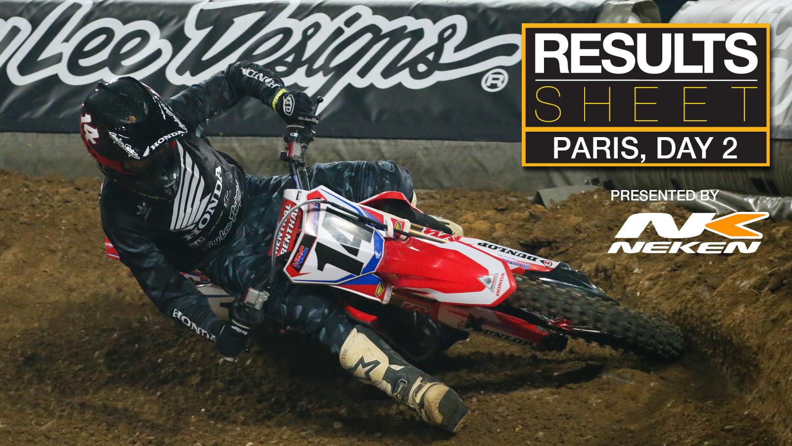 Results Sheet: Supercross de Paris, Day Two