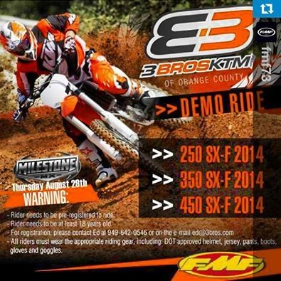 2014 ktm demo ride at milestone - tech help/race shop - motocross