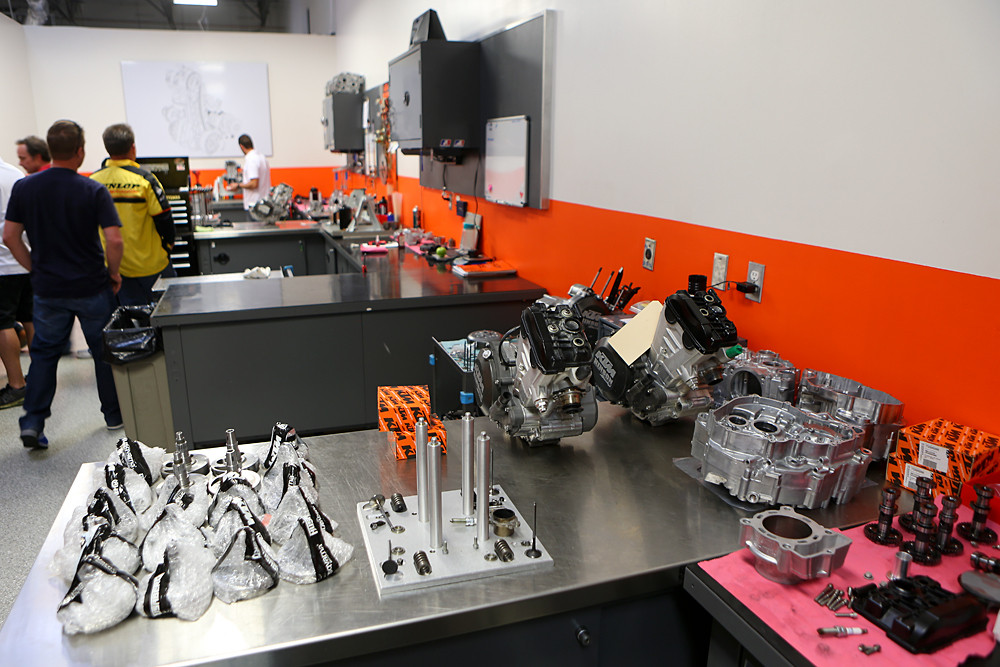 Engines built here end up with the Red Bull/KTM team, the Rockstar Energy Racing squad, BTO Sports/KTM, KTM's off-road team, and private customers.