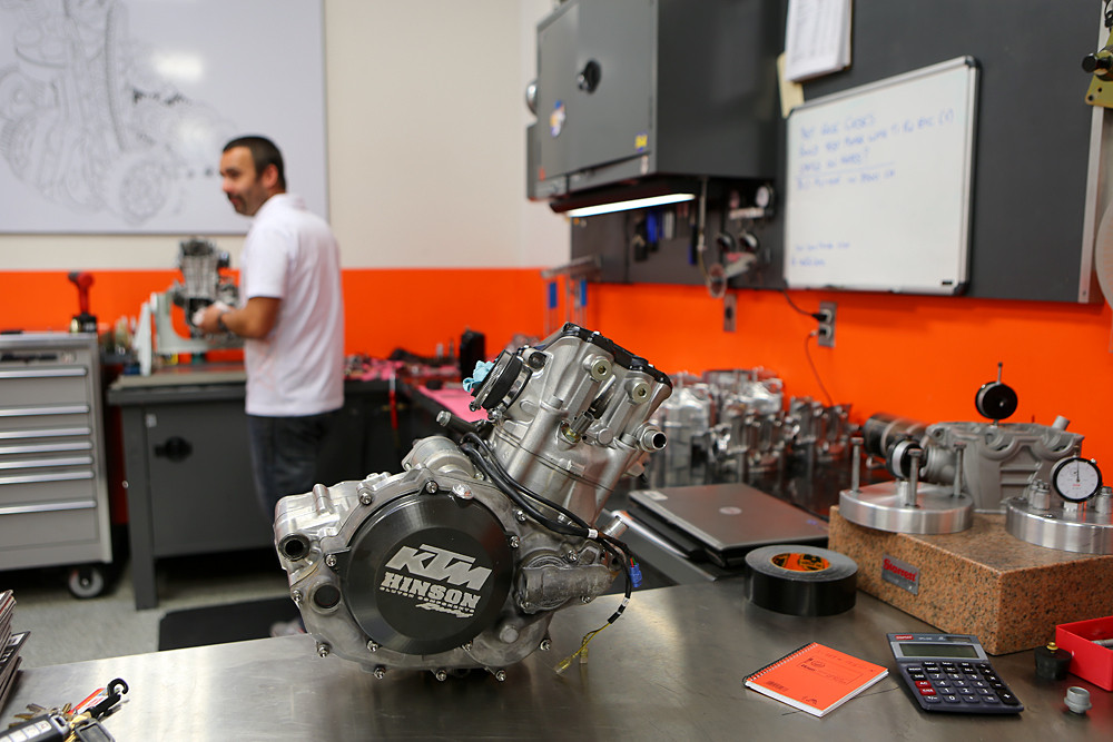 So how often do engines get rebuilt? Figure about every 20 hours for a practice engine, and ever ten hours for a race unit. Rebuild time for an engine is about two-and-a-half days, including dyno time.