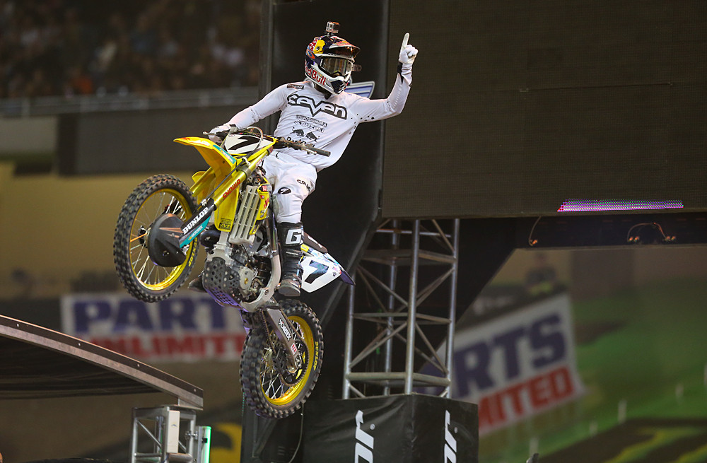 James Stewart (Yoshimura Suzuki Factory Racing) grabbed his third win of the season in Detroit. The title may be out of reach, but he's got his eye on second overall in the series. He's got some work to do to catch Ryan Dungey.