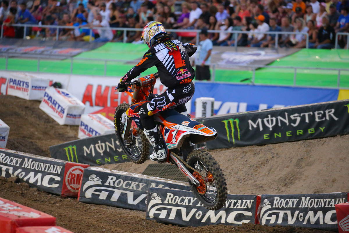 Marvin Musquin took the second 250 heat race, but not without some pressure from RJ Hampshire.