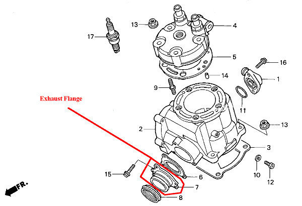 favorite 00-01 honda cr125r exhaust flange