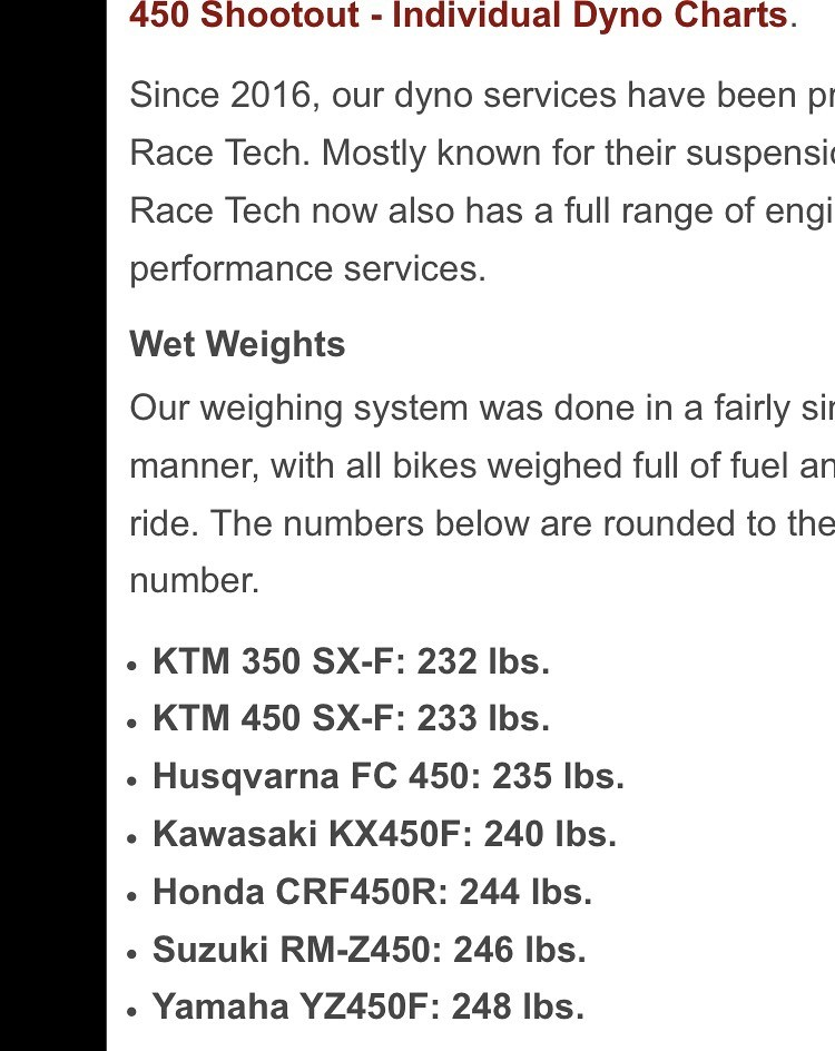 2018 honda 350 2 stroke. interesting honda na rmz is 2 lbs lighter and the 2018 surely than that  honda just became heaviest 450 depending on if yzf gained any weight  to honda 350 stroke e
