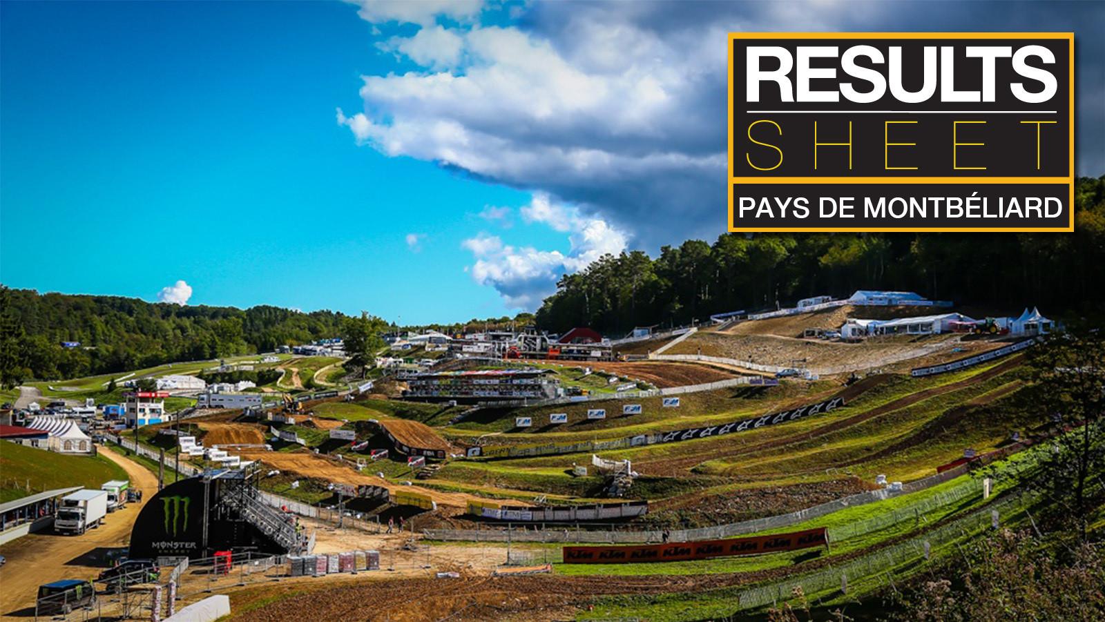 Results Sheet: 2017 MXGP of Pays de Montbéliard - Saturday