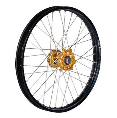 Dubya Complete Front Wheel Kit With Talon Billet Hub & Did Dirtstar Stx Wheel 21 X 1.60   dub_14_whe_com_fro_kit_bil_stx-blk_rim_gol_hub.jpg