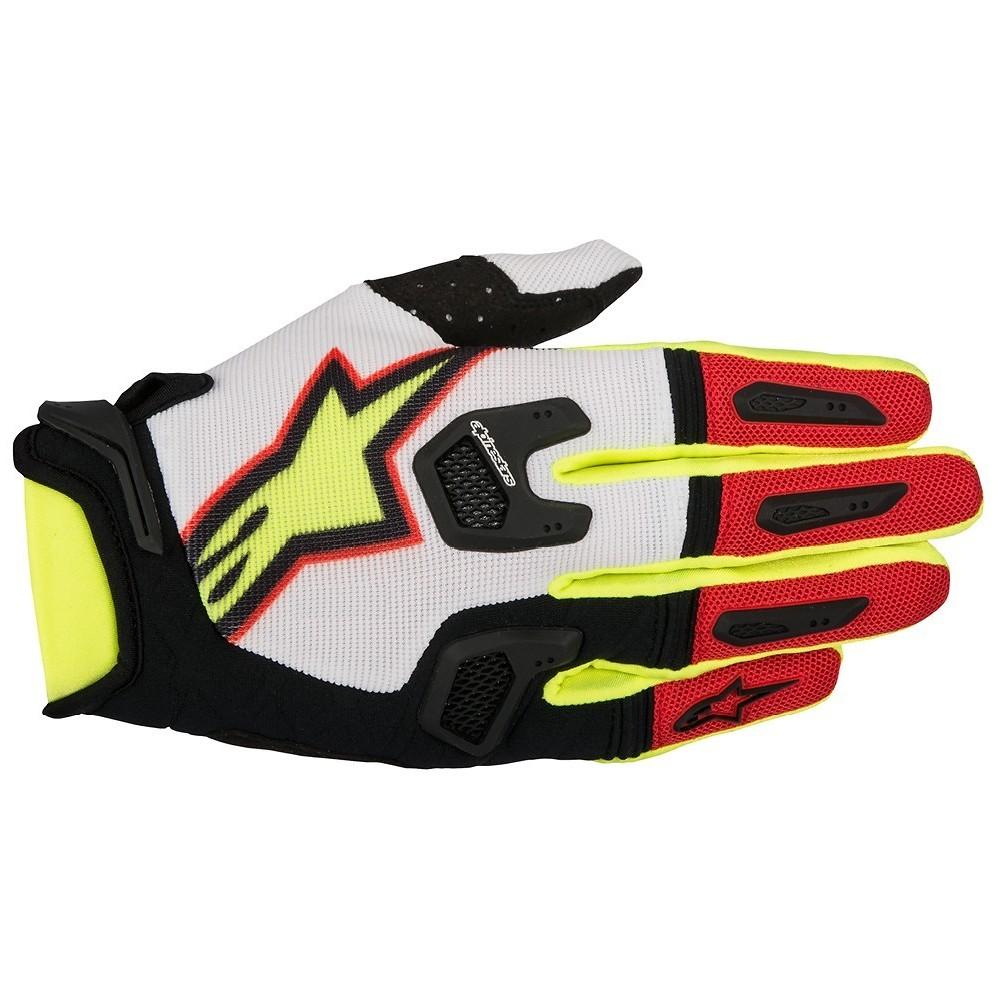 Alpinestars Racefend Gloves Alpinestars Racefend White, Red, and Yellow