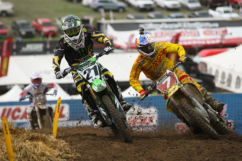 Jake Weimer (Monster Energy Kawasaki) had good starts in both motos. James Stewart (Team Yoshimura Suzuki Racing) quickly made his way to the front in moto one, but almost just as quickly went down hard in a fast downhill sweeper. He went DNF-DNF for the day, and will visit the doctor at home to have his hand/wrist checked out.