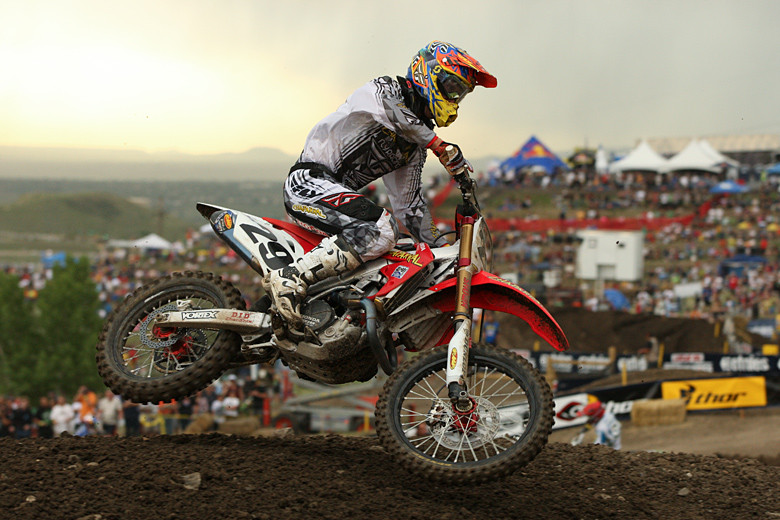 Andrew Short (Team Chapparal Honda) was seventh in moto one, but ran a strong second in moto two, to the delight of the local fans. He ended up third overall for the day.