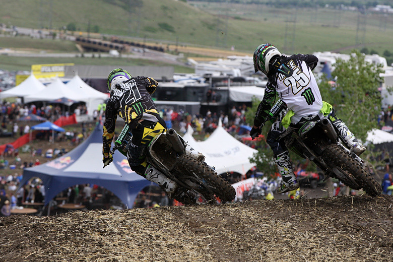 One of the best battles of the day was between Jake Weimer (Monster Energy Kawasaki), and Broc Tickle (Monster Energy Pro Circuit Kawasaki) for third and fourth place in the second moto. Tickle ended up third, and Weimer fourth, but Jake scored second overall with his 2-4 score. Broc had suffered a DNF in moto one.