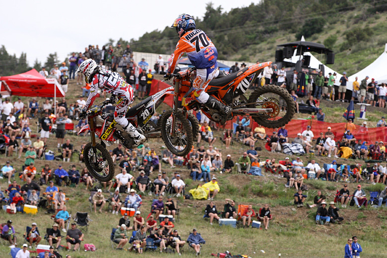 Justin Barcia and Ken Roczen (Red Bull/KTM) battling in front of a hearty Colorado crowd. The fans had to endure a delay for severe winds at the start of the first 250 moto that ripped up banners, took down tents, and made a general mess of the facility. We saw one guy get completely blown over in his lawn chair.