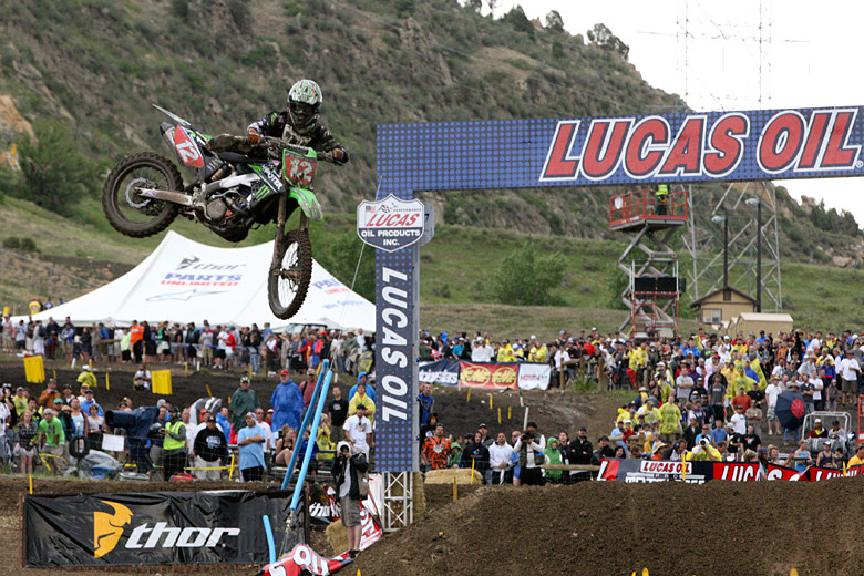 Blake Baggett (Monster Energy Pro Circuit Kawasaki) put on a serious burst of speed in moto two that took him past all of his 250-class competitors.