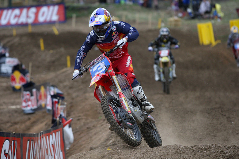 Tarah Gieger (Troy Lee Designs Lucas Oil Honda) finished second in moto one, and lead a portion of moto two.