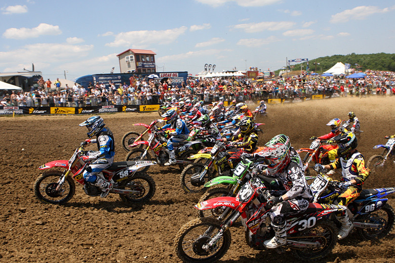Wil Hahn (GEICO Honda) grabbed a sweet holeshot in moto one of the 250 class.