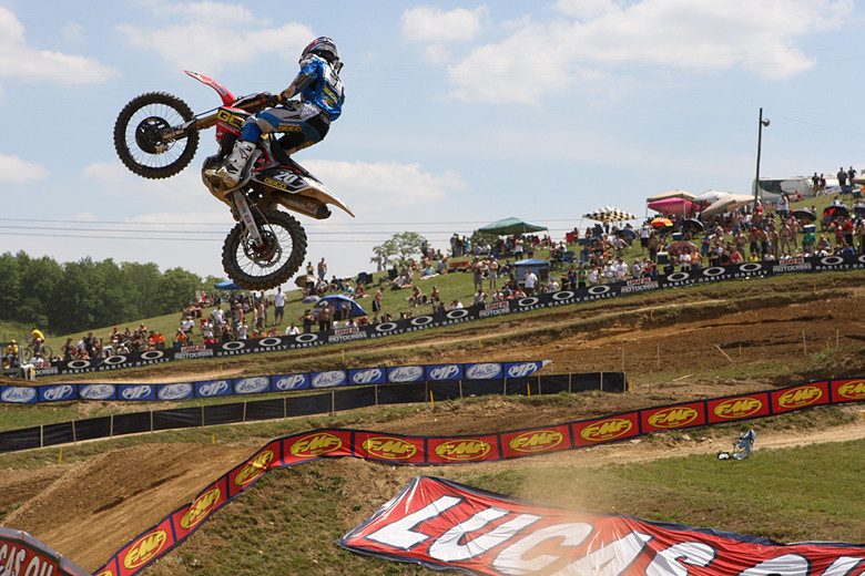 It wasn't long before Hahn's GEICO Honda teammate, Justin Barcia, came calling, and he lead every lap of the first moto, despite a trip over the bars late in the moto.
