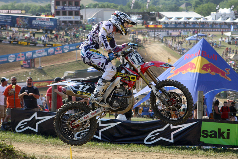 Eli Tomac was on fire in moto two in the 250 class, coming from just inside the top ten on lap one to catch and pass his way to the lead...and the overall win with a 2-1 day.