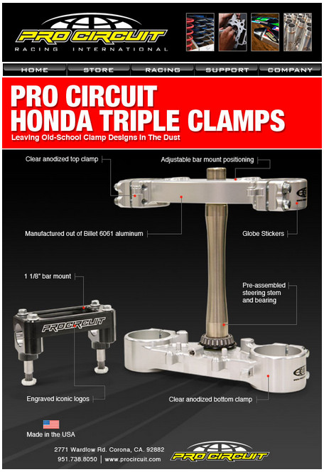 Pro Circuit 2013 Honda Triple Clamps
