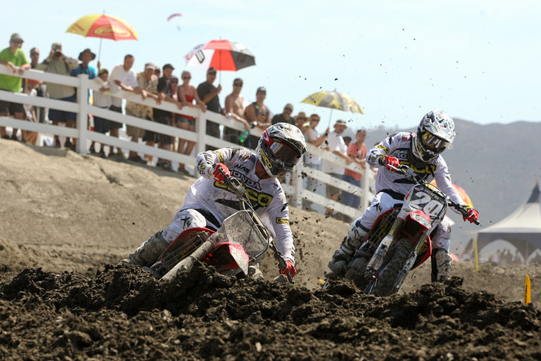 The GEICO Honda teammates went at it, with Eli Tomac coming from behind to catch and pass Barcia, and he nearly caught Baggett as well, before the heat got to him and he had to cool his pace.