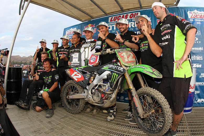 Blake Baggett and the Monster Energy Pro Circuit Kawasaki crew celebrate at Lake Elsinore.