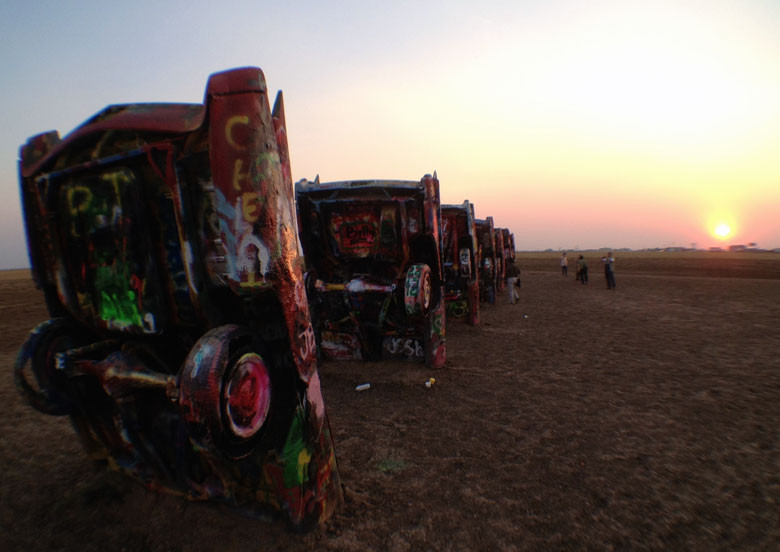 I'd always wanted to check out the Cadillac Ranch just west of Amarillo, Texas, and made it just in time to catch it at sunset.