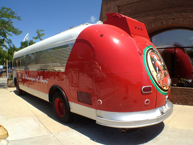 At the Miller Brewery visitor center, they had this sweet touring display bus. Love the art deco look.