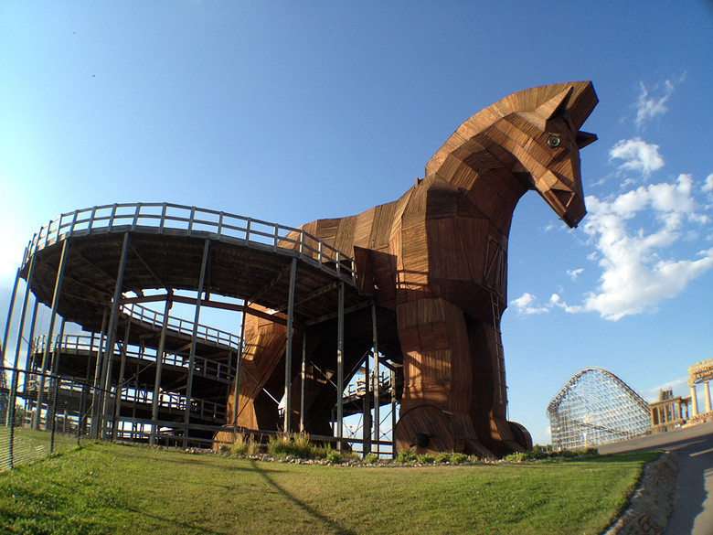 Wisconsin Dells has the kookiest collection of tourist attractions in one place that we've seen, and it's always worth a look. This is a go-kart track that runs through a Trojan horse.