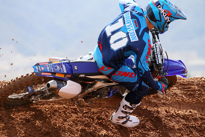 Justin Brayton riding with the more traditional version. See how much longer the muffler is?