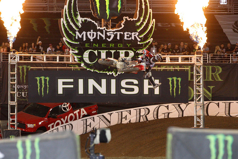 Justin Barcia (Team Honda Muscle Milk) won the second main, and had a pair of seconds in the other two to take the Monster Energy Cup and the $100,000 prize.