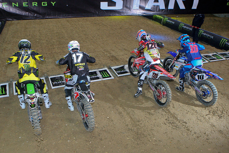In a series of bonus three-lap elimination races, the field was whittled down from 14, to eight, and finally four. Jake Weimer scored the win here. Eli Tomac was charging to pressure Jake for the lead, but lost the front end in a fast sweeper.