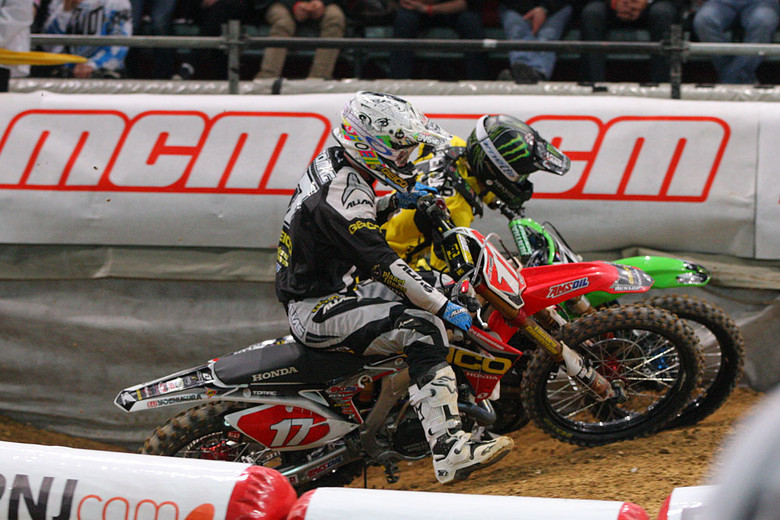 The final main event of the night came down to a side-by-side duel between Eli Tomac (GEICO Honda) and Jake Weimer (Monster Energy Kawasaki), after Jake had led from the start. Eli got sideways in the last corner, and Jake scored the first night's win.