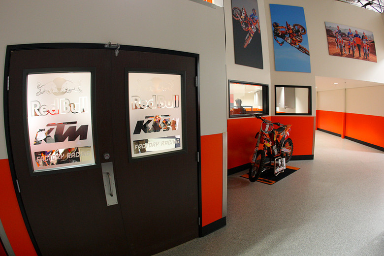 The new race shop was just finished earlier in the week. We dug the frosted glass windows at the entry.