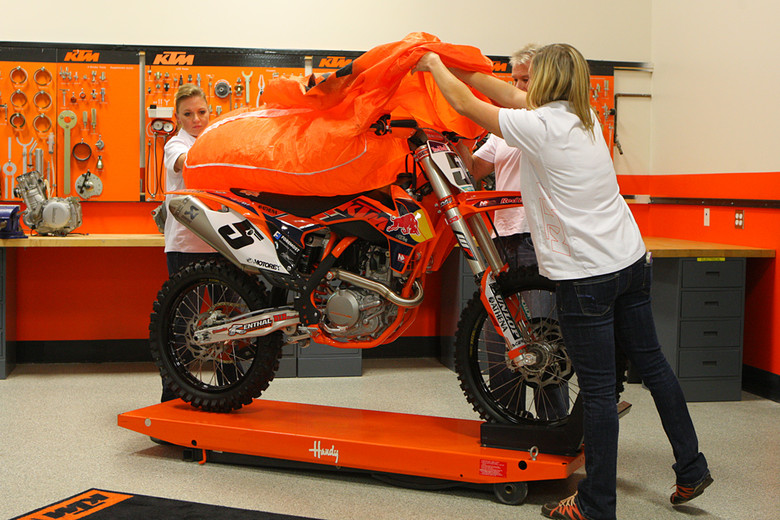 "The KTM team also introduced their new 2013 450 SX-F Factory Edition. You can read more about it <a href=""http://www.vitalmx.com/news/news/KTM-Announces-New-2013-450-SX-F-Factory-Edition,3822"" target=""_blank"">here</a>. This one will be available in February. You can hear more about how they're bringing the replicas to market (and recreating how they do tradition model years) in the video below."