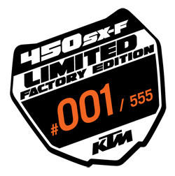 Each of the Factory Edition bikes will have a badge on the frame that looks like this one.