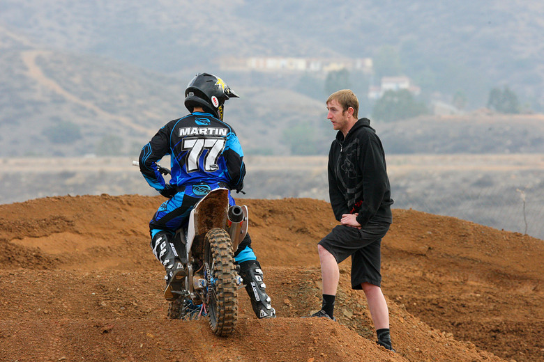 Jeremy Martin and his new mechanic, Scott Adkins.