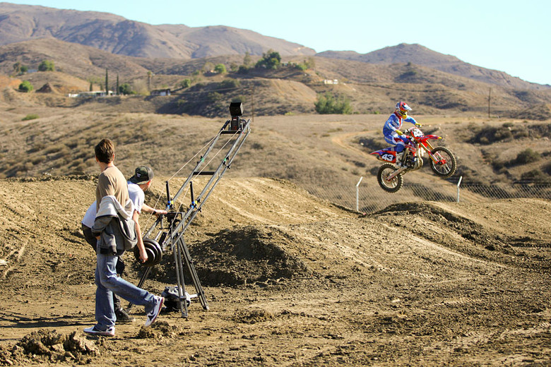 This time of year you'll find all sorts of filming and photo shoots going on. Specialized Bicycles is one of the sponsors of the Troy Lee Designs Lucas Oil Honda team, and they had a crew on hand to get some moto footage of the riders in action.