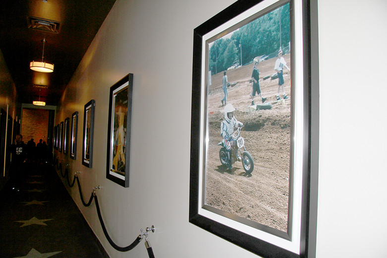A bunch of old photos from Trey's early days on dirt bikes lined the wall on the way to the theater. As you can see, Canard has been rocking some form of the number 41 since his first days on two wheels.