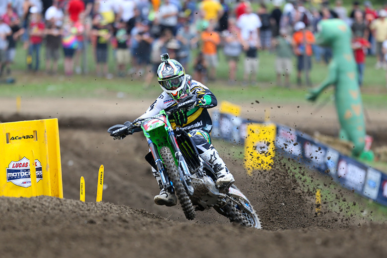 Ryan Villopoto (Monster Energy Kawasaki) scored two holeshots, and a perfect 50-point day at Unadilla. He now has a 44-point lead, and is within sight of wrapping this title up, maybe as early as next week.