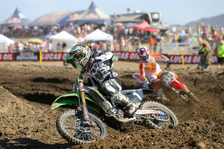 Blake Baggett (Monster Energy Pro Circuit Kawasaki) took the second moto win...at least until he was docked a position for a red cross flag violation.