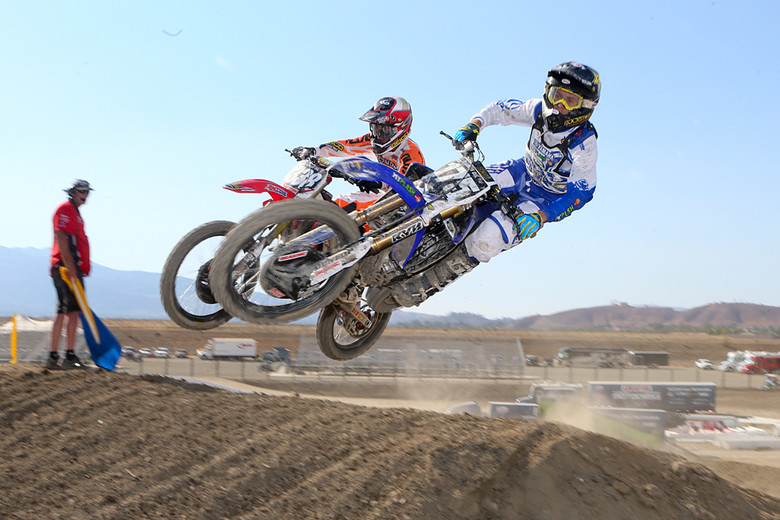 Cooper Webb (MyPlash Metal Mulisha Yamaha) and Zach Osborne (GEICO Honda) battled in moto two. Cooper ended the day in third overall.
