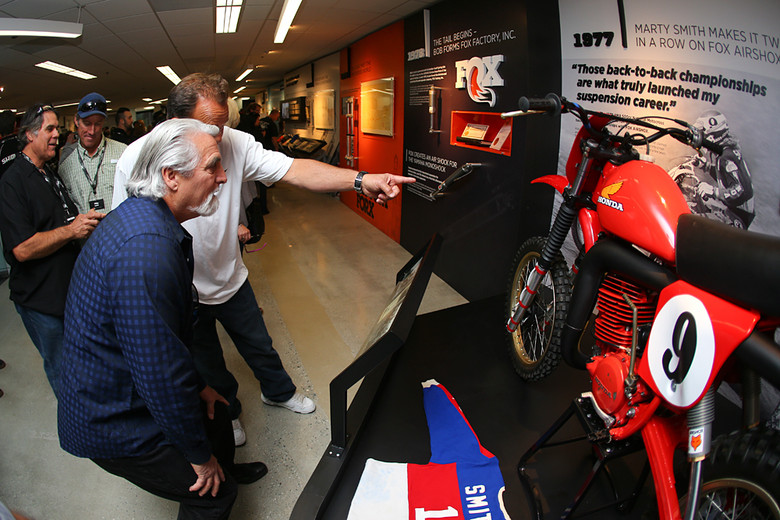Marty Smith and Brad Lackey check out an RC500 built up for the display, while discussing its origin. It sounded like this one started out as a GP bike that made its way to Australia, before coming back to the US to be made over into a replica of Marty's Championship-winning bike.