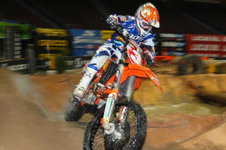 Mike Brown (above) and Taddy Blazusiak went head-to-head in Las Vegas at the Endurocross finals, but it ended up being the race within a race.
