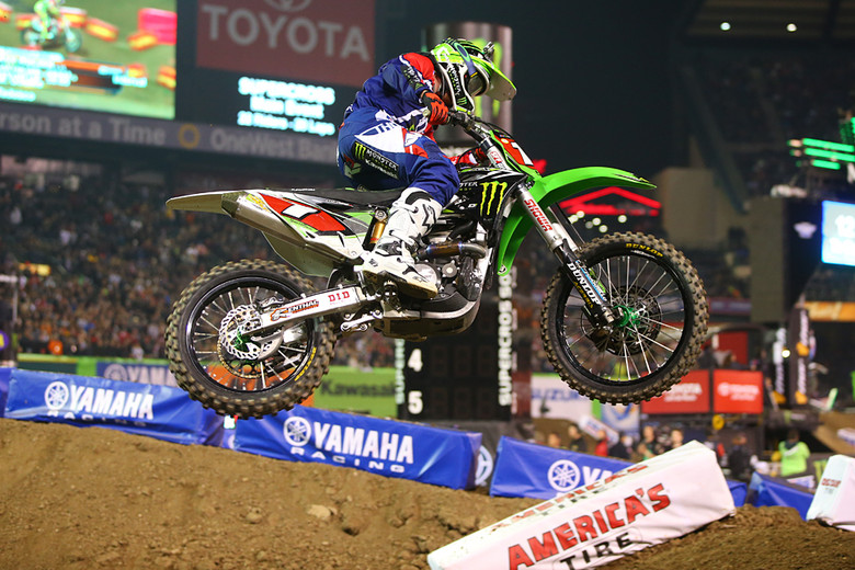 Just like last year, Ryan Villopoto (Monster Energy Pro Circuit Kawasaki) had a tough start to his season. He was leading early, but lost the front end in a 180-degree left-hander and went down hard. He came back to finish fourth.