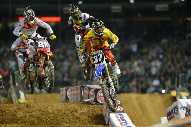 Cooper Webb (Yamalube Star Racing Yamaha) grabbed the holeshot to start the 250 main, but Cole Seely (Troy Lee Designs Lucas Oil Honda) quickly took over the lead. Cooper had an off-track excursion and ended up sixth.