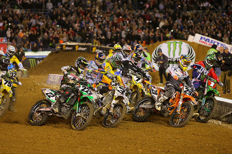 Andrew Short (BTO Sports/KTM) grabbed the holeshot to start the 450 main.