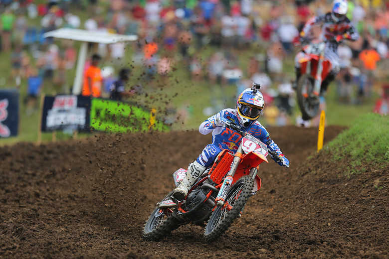 Ken Roczen (Red Bull KTM) had a fork setting (and a couple crashes) that didn't work for him in the first moto. He came back strong in moto two for the 450 overall.
