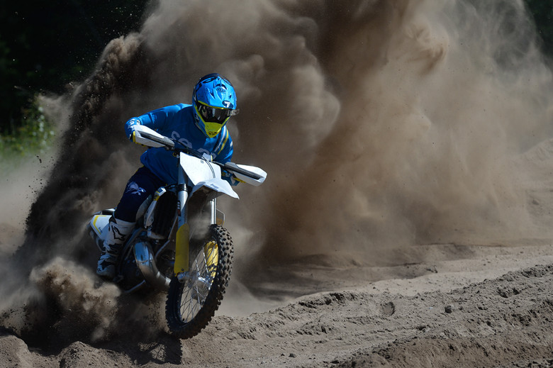 Berm destruction courtesy of the 2015 Husqvarna TC 250.