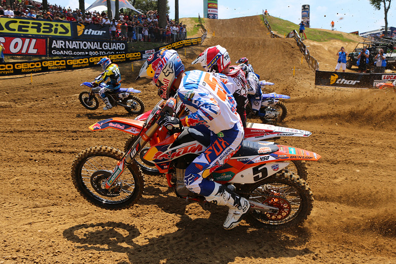 Ryan Dungey (Red Bull KTM) was second in the first 450 moto, but quickly built an insurmountable lead in moto two. He said that they'd made a big suspension change during the week. It paid off.