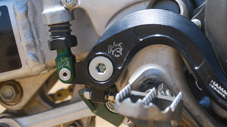 The CNC Brake Pedal also offers an adjustment bolt which can be set against the frame. This is to eliminate the brake pedal from pushing up during a crash and pulling the plunger out.
