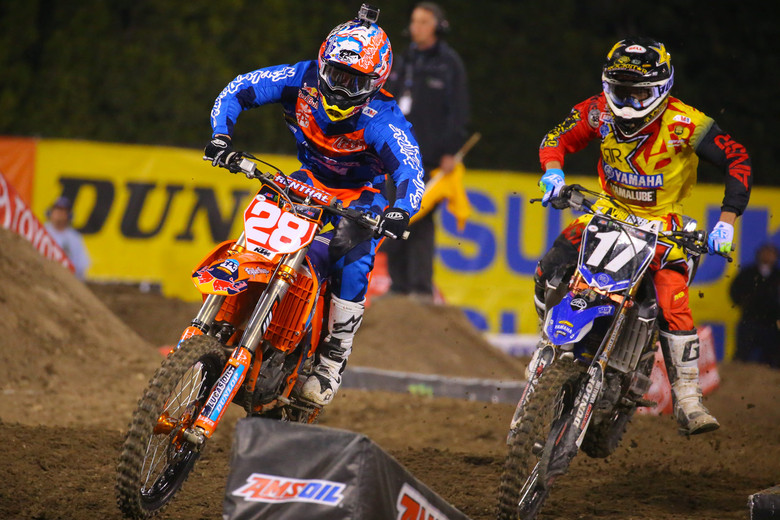 Jessy Nelson looked to have another heat race win in the bag, until Cooper Webb applied some heavy pressure on the final lap and made the move to take the lead.